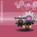 Technology design with gears abstract colorful illustration modern on a pink background Stock Photo