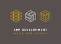 Technology, development, architecture, game studio vector logos set in line style
