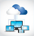 Technology electronics and cloud illustration design over a white background Stock Images