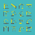 Technology factory robot arms equipment. Vector industrial machine hands icons
