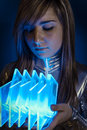 Technology.Fiber Optic concept, woman with modern lights Royalty Free Stock Photo