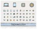 Technology hand drawing line icons. Royalty Free Stock Photo