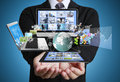 Technology in the hands of businessmen Royalty Free Stock Photos