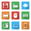 Technology icons set with with shadow this is file of eps format Royalty Free Stock Photo