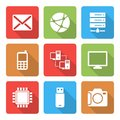 Technology icons set with shadow vol this is file of eps format Royalty Free Stock Image