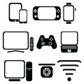 Technology icons set with tablet, mobile phone, smart watch , game console, smart tv, players joystick for game console, laptop ,