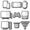 Technology icons set with tablet mobile phone smart watch game console smart tv players joystick for game console laptop pc Royalty Free Stock Images