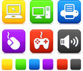 Technology Icons on Square Internet Buttons Stock Photos