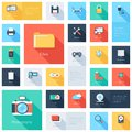 Technology icons vector collection of colorful flat and multimedia with long shadow design elements for mobile and web Royalty Free Stock Image