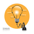 Technology infographic plug line idea vector illustration. Royalty Free Stock Photo