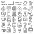 Technology line icon set, device symbols collection, vector sketches, logo illustrations, tech signs linear pictograms