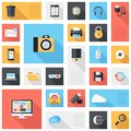 Technology and media icons vector collection of colorful flat multimedia with long shadow design elements for mobile web Royalty Free Stock Photo