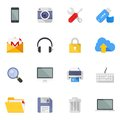 Technology and media icons vector set of colorful flat multimedia Royalty Free Stock Photo