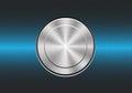 Technology metal button switch control power on blue hexagon mesh design modern background vecto.
