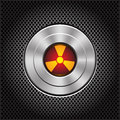 Technology metal nuclear button on dark gray mesh pattern design icon vector. Royalty Free Stock Photo