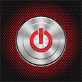 Technology metal red power energy button on circle mesh pattern design icon vector. Royalty Free Stock Photo