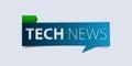 Technology news header on white background. Breaking news Banner design template. Vector.