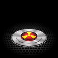 Technology nuclear button on metal dark gray mesh pattern design icon vector. Royalty Free Stock Photo