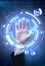 Technology scan man's hand for security Royalty Free Stock Photo