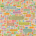Technology seamless pattern concept related words in tag cloud conceptual info text graphic word collage Stock Image