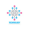 Technology - vector logo template concept illustration. Computing network creative sign. Electronic digital chip symbol.