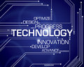 Technology word background a with circuit board lines Royalty Free Stock Images
