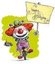 Tecknad film konstnärlig illustration av en clown på unicyc Royaltyfri Foto