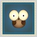 Tecknad film owl postage stamp Royaltyfri Fotografi