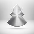 Tecnology Christmas tree icon with metal texture Royalty Free Stock Image