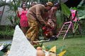 Tedak sinten tradition is a in indonesia to a baby with dey age to walking their future life Stock Photos