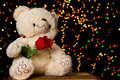 Teddie bear with white with red rose sitting bokeh background Royalty Free Stock Photo