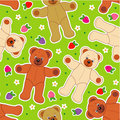 Teddies and berries seamless pattern Royalty Free Stock Images