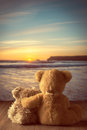Teddies at sunset watching the setting sun the coast Stock Photo