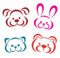 Teddy animals portraits icons outlined toys illustration Royalty Free Stock Photos