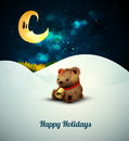 Teddy bear alone in the snow under moonlight layered eps vector background Stock Images
