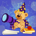 Teddy bear astronomer vector illustration eps Stock Images