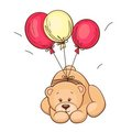 Teddy bear and balloons Stock Images