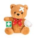 Teddy bear with bandage isolated on white Royalty Free Stock Photo