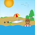 Teddy bear on the beach Royalty Free Stock Photo