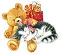 Teddy bear for birthday card. watercolor