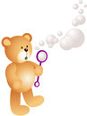 Teddy bear blowing bubbles scalable vectorial image representing a isolated on white Stock Images