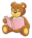 Teddy bear and book reading a vector illustration Royalty Free Stock Photography