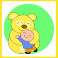 Teddy bear and the boy a sweet hug between a little a soft yellow digital drawing coloured pciture Stock Photos