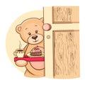 Teddy Bear with breakfast Stock Image