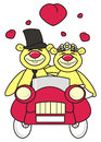 Teddy bear bride and groom in the car