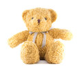 Teddy bear brown color with ribbon on white background handmade Royalty Free Stock Image