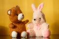 Teddy bear with bunny doll