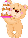 Teddy Bear with cake Stock Photo