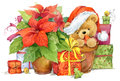 Teddy bear and Christmas gifts. New year and Christmas background