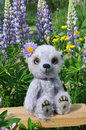 Teddy-bear Chupa on a little board among flowers Royalty Free Stock Photo